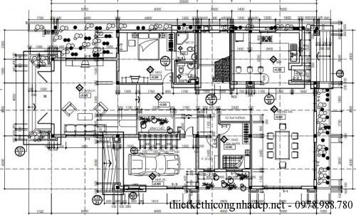 Mặt bằng tầng 1 biệt thự 2 tầng 12x20m