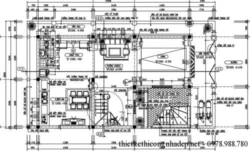 Mặt bằng tầng 1 biệt thự 4 tầng 8x15m