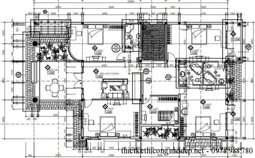 Mặt bằng tầng 2 biệt thự 2 tầng 12x20m