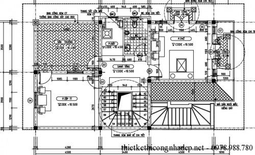 Mặt bằng tầng 4 biệt thự 4 tầng 8x15m