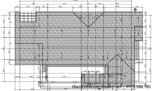 Mặt bằng mái biệt thự 2 tầng 12x20m