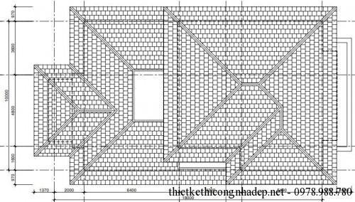Mặt bằng tầng 3 biệt thự 3 tầng 10x18m