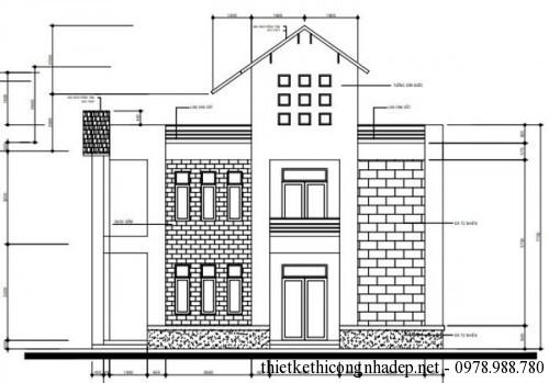 Mặt bên biệt thự 2 tầng 6.5x11.5m