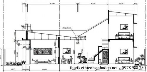 Mặt cắt nhà cấp 4 diện tích 4x19m