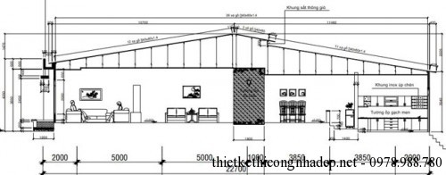 Mặt cắt nhà cấp 4 6x23m