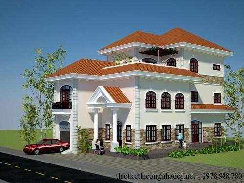 Mẫu thiết kế nhà biệt thự hiện đại, biệt thự 3 tầng 10x18m