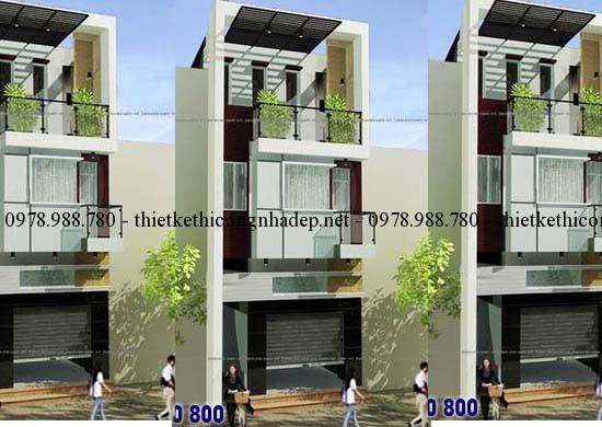 Phối cảnh nhà phố 2.5 tầng 5x18m