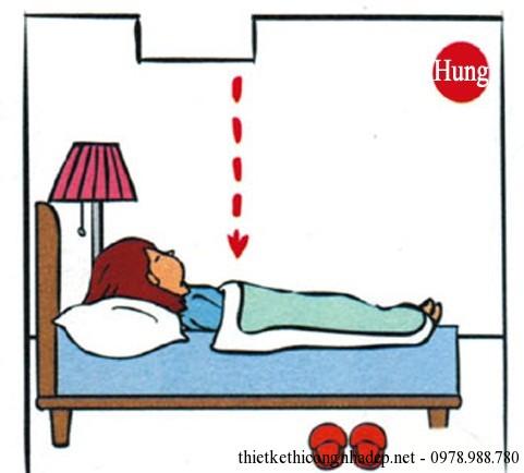 Giường ngủ kê dưới xà ngang