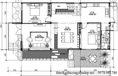 Mặt bằng tầng 1 biệt thự 2 tầng 8x15m
