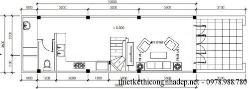 Mặt bằng tầng 1 nhà phố 3 tầng 3.5x13m