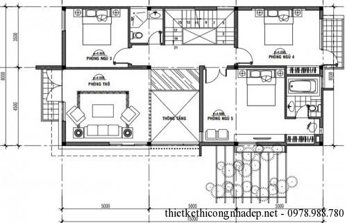 Mặt bằng tầng 2 biệt thự 2 tầng 8x15m