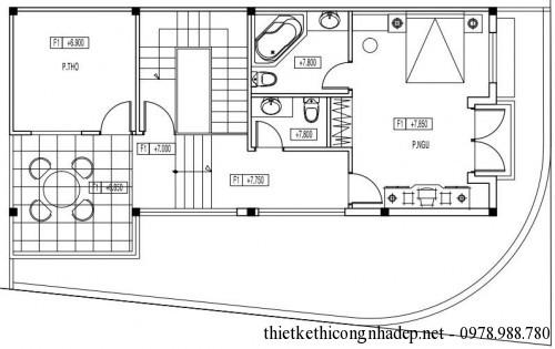 Mặt bằng tầng 3 biệt thự 3 tầng 7x13.5m