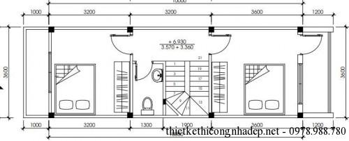 Mặt bằng tầng 3 nhà phố 3 tầng 3.5x13m