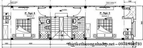Mặt bằng tầng 3 nhà phố 4 tầng 4x15m