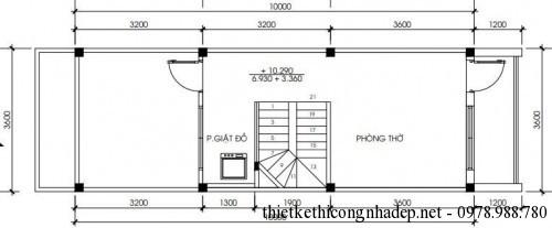 Mặt bằng tầng 4 nhà phố 3 tầng 3.5x13m