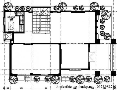 Mặt bằng tầng lửng biệt thự 3 tầng 14x23m