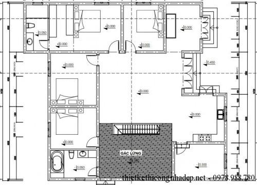 Mặt bằng tầng lửng nhà cấp 4 15x15m
