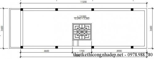 Mặt bằng tầng mai nhà phố 3 tầng 3.5x13m