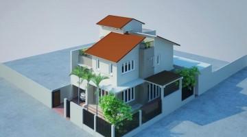 Mẫu thiết kế nhà biệt thự nhà vườn mái thái đẹp 8x12m