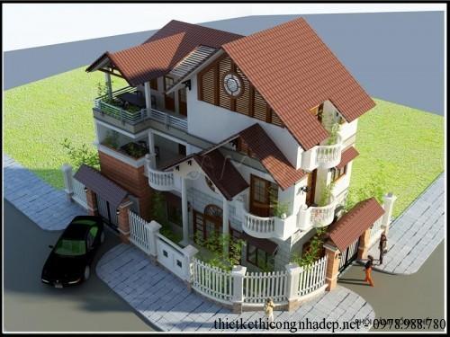 Phối cảnh góc 1 biệt thự 3 tầng 7x13.5m