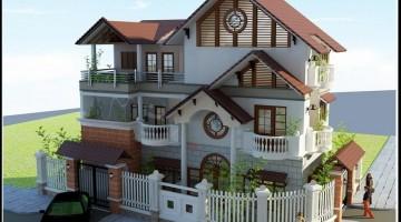 Thiết kế nhà biệt thự 3 tầng đẹp hiện đại mái thái 7×13.5m
