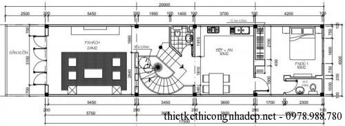 Mặt bằng tầng 1 nhà phố 2 tầng 4.5x20m