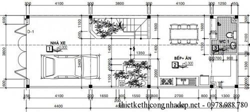 Mặt bằng tầng 1 nhà phố 5x15m