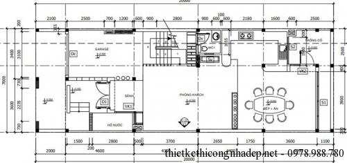 Mặt bằng tầng 1 nhà phố 4 tầng 7x20m