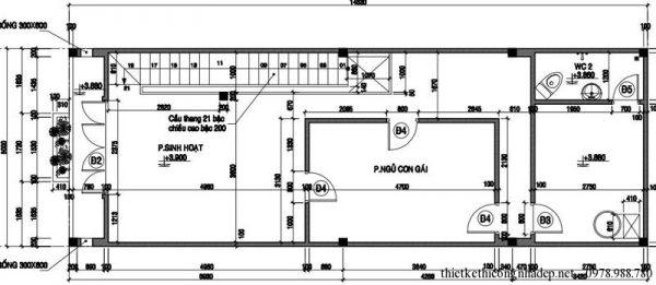 Mặt bằng tầng 2 nhà phố 2 tầng 75m2- 5x15m