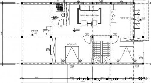 Mặt bằng tầng 2 nhà phố 7.6x16m