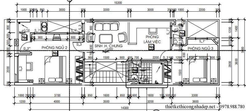 Mặt bằng tầng 2 nhà phố 2 tầng 5x16m diện tích 80m2
