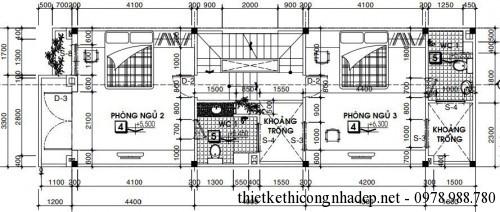 Mặt bằng tầng 2 nhà phố 5x15m