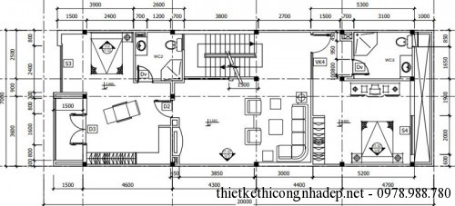 Mặt bằng tầng 2 nhà phố 4 tầng 7x20m