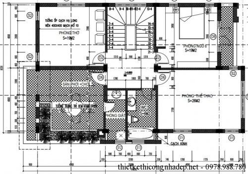 Mặt bằng tầng 3 biệt thự 3 tầng 8x14m
