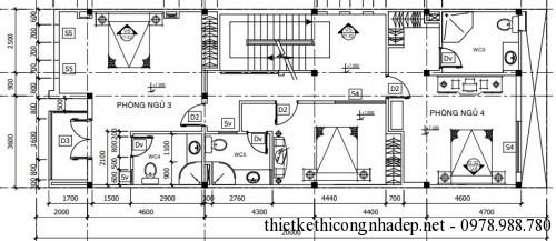 Mặt bằng tầng 3 nhà phố 4 tầng 7x20m