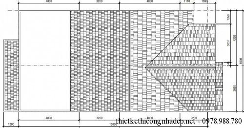 Mặt bằng tầng mái biệt thự phố 3 tầng 8x16m