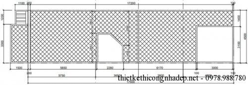 Mặt bằng tầng mái nhà phố 2 tầng 4.5x20m