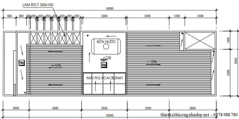 Mặt bằng tầng mái nhà phố 2 tầng 5x16m 80m2