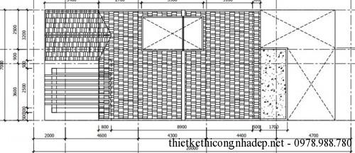 Mặt bằng tầng mái nhà phố 4 tầng 7x20m