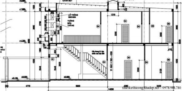Mặt cắt nhà phố 2 tầng 75m2 5x15m