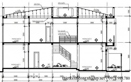 Mặt cắt nhà phố 2 tầng 80m2