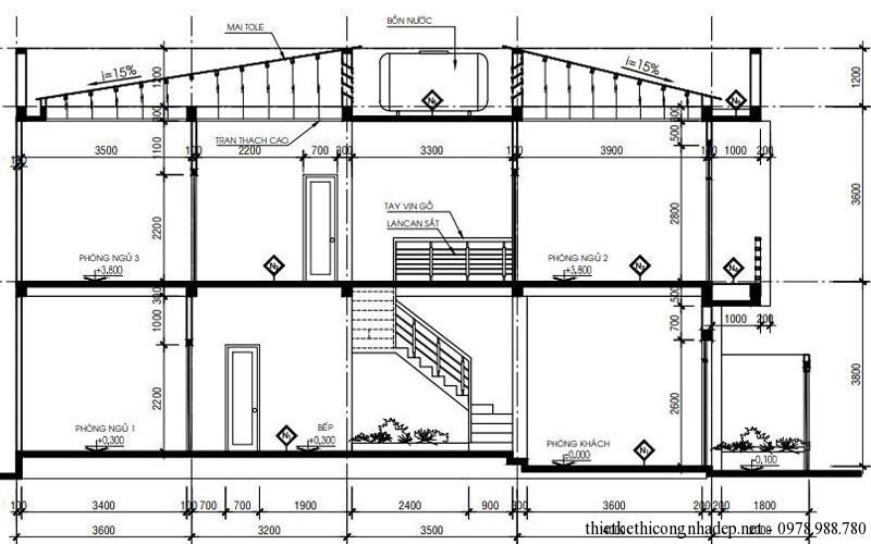 Mặt cắt nhà phố 2 tầng 5x16m diện tích80m2