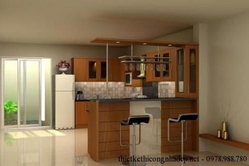 Nội thất phòng bếp nhà phố 2 tầng 3x18m