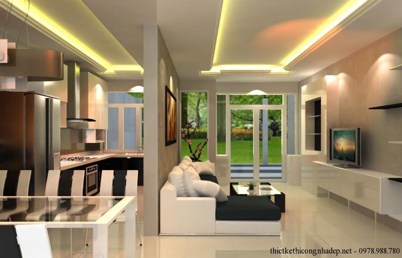 Không gian phòng khách và phòng bếp