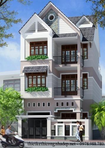 Thiết kế kiến trúc biệt thự nhà phố 3 tầng đẹp 8x16m