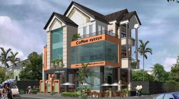 Mẫu thiết kế nội thất quán cafe đẹp 3 tầng 10x14m