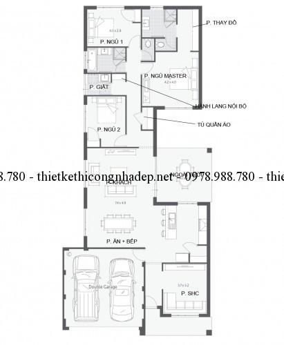 Mặt bằng nhà một tầng 10x22m
