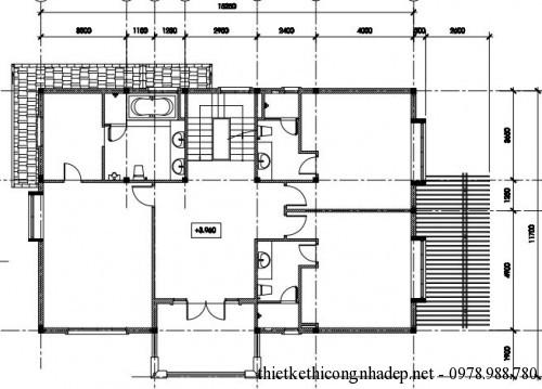Mặt bằng tầng 1 biệt thự vườn 2 tầng 12x15m