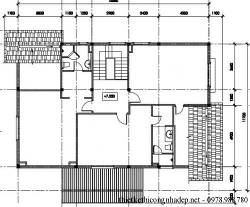 Mặt bằng tầng 2 biệt thự vườn 2 tầng 12x15m