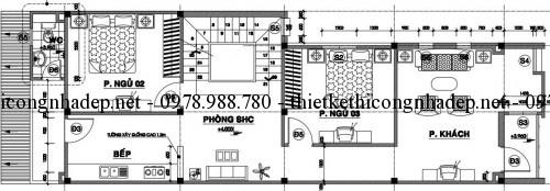 Mặt bằng tầng 2 nhà phố 12x17m
